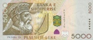 Albanian valuutta seteli