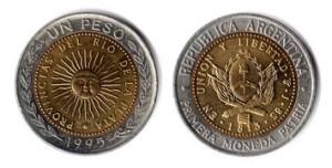 Argentiinan valuutta kolikko