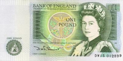 1 Britannian punnan seteli.