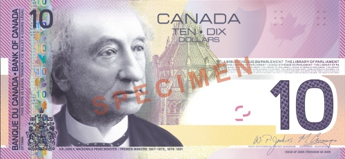 10 Kanadan dollarin seteli.