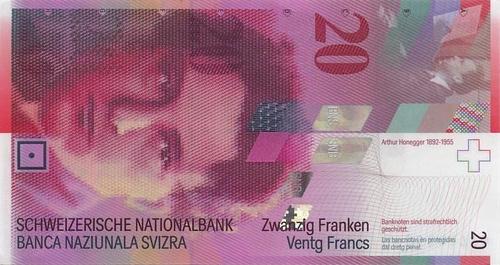 20 Sveitsin frangin seteli.