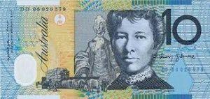 10 Australian dollarin seteli.