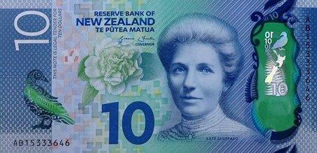 10 Uuden-Seelannin dollarin seteli.
