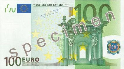 100 euron seteli.