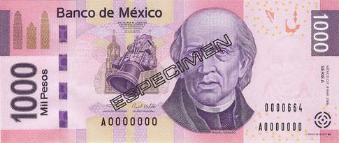 1000 Meksikon pesoa seteli.